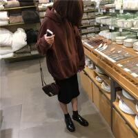 卫衣女秋冬季新款韩版宽松BF风学生中长款原宿纯色白塔连帽外套头