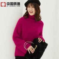 秋冬新款女装高领貂绒衫日系套头毛衣针织衫宽松加厚打底衫