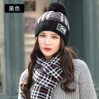 帽子女秋冬季时尚韩版针织骑车围巾帽子两件套防风保暖毛线帽套装