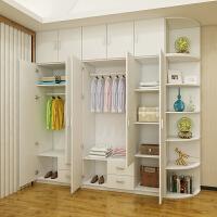 简约现代卧室整体衣柜非实木经济型定制大衣柜衣橱234门组合柜子 衣柜+顶柜+角柜 高2.4米【颜色备注】