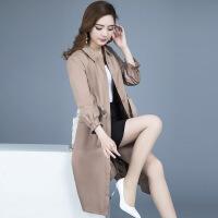 中长款风衣女韩版2018新款春秋季收腰系带时尚轻薄款式外套
