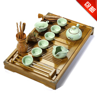 林仕屋汝窑茶具套装整套功夫茶具茶盘实木陶瓷茶台茶海套装CJT1681