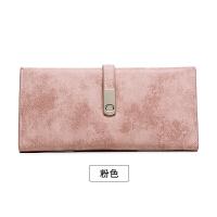 钱包女长款薄学生简约韩版复古磨砂软皮搭扣两折钱夹