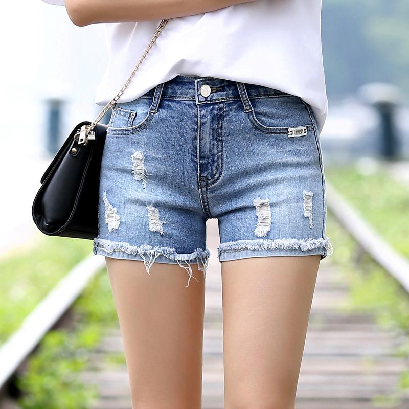 2018夏季新款牛仔裤女装时尚短裤韩版修身显瘦抓花弹力牛仔布热裤JL1911