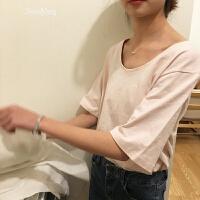 不退换自制春夏小宽松U型圆领糖果色纯色套头T恤女上衣20