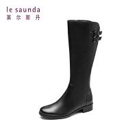 莱尔斯丹 秋冬商场同款欧美休闲高筒靴骑士靴女靴 7T36627P