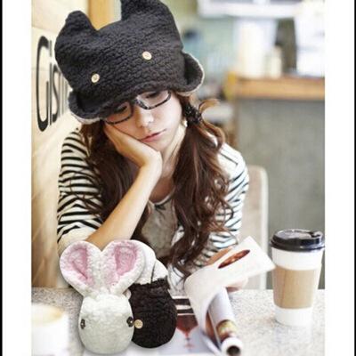可爱卡通 潮人兔子兔兔帽子 毛绒保暖帽 粉色