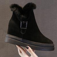 雪地靴女2018新款短筒韩版百搭加绒保暖皮毛一体厚底内增高棉鞋冬