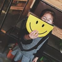儿童斜挎包女迷你小包潮男童包包装饰宝宝腰包零钱包笑脸胸包 黄色 笑脸A