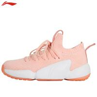 李宁羽毛球女鞋女子一体织透气减震跑步鞋透气轻便运动鞋