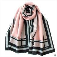 双面拉毛加厚起长百搭夏季空调巾 拉毛围巾披肩两用粉红格子
