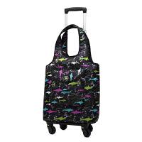 18寸登机水印花手万向轮杆包购物袋旅行箱包短途行李袋男女 大