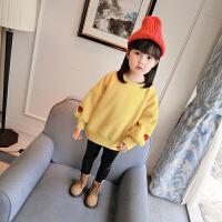 童装女童装韩版新款加绒卫衣宝宝秋宽松加厚上衣子款潮 黄色 妈妈款均码