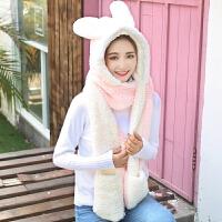 2018082308194102018新款韩版女学生冬季保暖帽子手套围巾一体可爱卡通兔子儿童子三件套