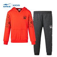 【2件3折到手价:149.4元】鸿星尔克(ERKE) 儿童运动套装男童装运动服 连帽卫衣休闲百搭长裤