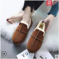 加绒豆豆棉鞋女新款冬季平底棉鞋休闲学生百搭毛毛雪地靴女鞋