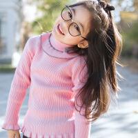 2017秋新款女童半高领套头毛衣纯棉保暖毛衫童装修身针织打底衫