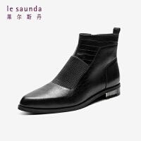 莱尔斯丹 秋冬女鞋商场同款时尚通勤尖头鳄鱼纹脚踝靴短靴女靴LS AT36301