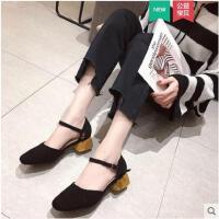 仙女包�^�鲂�女春季新款����珍粗跟奶奶鞋一字扣中跟�涡�女鞋