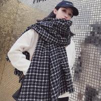 韩版女士仿羊绒针织围脖 学生小香风格子毛边围巾 户外保暖加厚披肩女