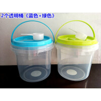 洗衣粉盒子 居家收纳桶零食储存罐洗衣粉桶加厚塑料防潮盒子杂物桶 送勺子A 2个透明桶粉绿+6条不沾油洗碗巾