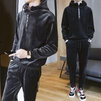 男士卫衣金丝绒休闲运动套装青年加绒加厚学生冬天外套DJ911