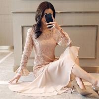 2018新款敬酒服新娘春季新款红色结婚晚礼服回门装修身中长款连衣裙女