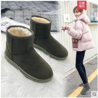 雪地靴女短筒平底短靴冬季新款加绒保暖棉鞋韩版百搭学生鞋