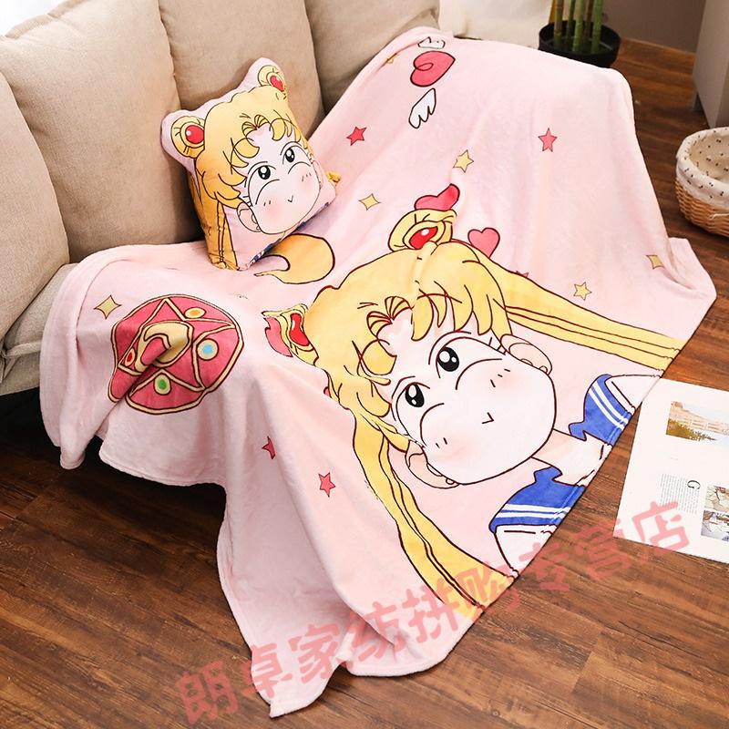 抱枕变毯子卡通美少女战士办公室抱枕被子两用变声器靠枕  30cm抱枕+1*1.7m毯子