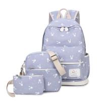 帆布双肩包女孩韩版校园3-4-6年级小学生书包小清新兔子印花背包