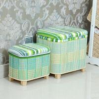 竹编收纳凳子储物凳可坐收纳椅子穿鞋凳多功能换鞋凳子储物箱