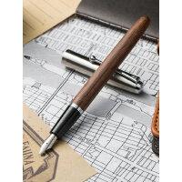 金豪木杆616学生用办公书写练字特细铱金钢笔 复古木质笔 礼盒装*办公 钢笔男