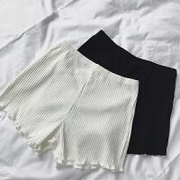 纯棉竖条三分打底裤女可外穿安全裤夏薄款防保险裤