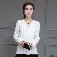衬衫 女士V领口袋拼接长袖衬衫2020年秋季新款韩版时尚女式文艺小清新女装打底衫