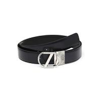 Z ZEGNA 杰尼亚 男士海军蓝牛皮银色Z字板扣腰带BSHIG2980A NVN 110