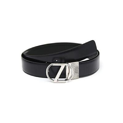 Z ZEGNA 杰尼亚男士海军蓝牛皮银色Z字板扣腰带BSHIG2980A NVN 110 杰尼亚男士钱包 时尚轻奢 品质保证