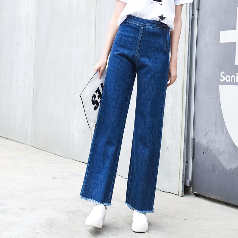 Frefeel 2018春夏新款直筒阔腿牛仔裤女时尚休闲无弹长裤oy0568