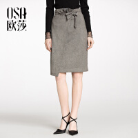 ⑩OSA欧莎2018春装新款女装 系带蝴蝶结 修身半身裙S118A51025