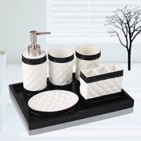 简约卫浴五件套 浴室用品套件 洗漱杯套装欧式卫生间牙刷杯漱口杯