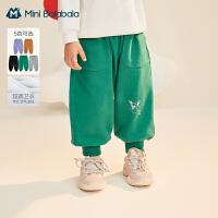 迷你巴拉巴拉儿童长裤2021春季新款男童女童宽松手脚柔软舒适长裤