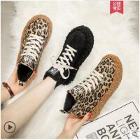 冬季新款韩版豹纹系带厚底松糕鞋网红加绒短靴学生百搭女鞋子