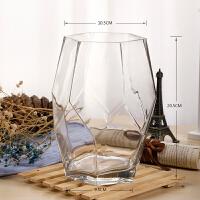 玻璃花瓶摆件客厅插花透明创意个性欧几何宽口现代简约玫瑰鲜花