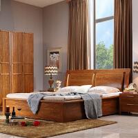 御品工匠 现代中式 实木床 板木结合大床 双人床 1.5米1.8米 橡木床高箱床 F068