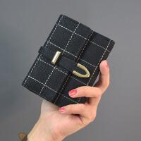 短款女士钱包可爱日韩版简约零钱包大钞夹搭扣小钱包2018学生新款 黑色