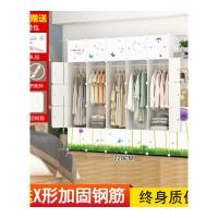 衣柜简约现代经济型组装仿实木推拉单门出租房塑料简易大衣柜 6门以上