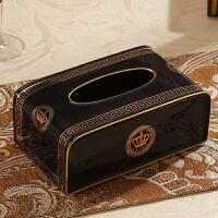 欧式客厅纸巾盒创意家用陶瓷抽纸盒 简欧茶几装饰品家居摆件 黑色 皇冠(黑色)