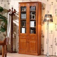 实木书柜橡木书架简约中式书柜带玻璃门书橱2门3门自由组合书柜