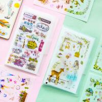 手帐贴纸 卡通素材手账日记人物装饰套装贴画带贴纸夹