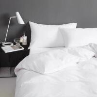 【官方旗舰店】宾馆酒店床上用品三件套纯白色床单被套四件套全棉白纯棉被罩民宿 白色