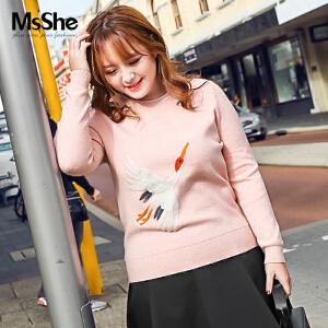 MsShe胖仙女大码女装2017新款冬装胖妹妹200斤套头衫毛衣M1740054